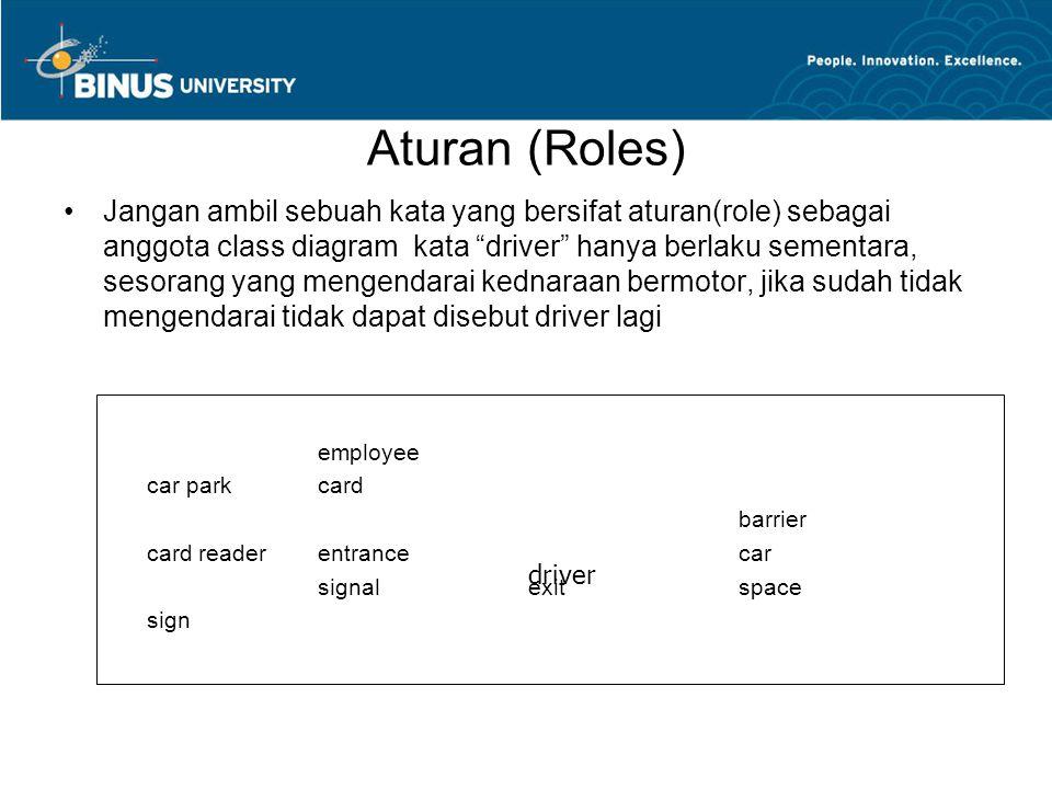 "Aturan (Roles) Jangan ambil sebuah kata yang bersifat aturan(role) sebagai anggota class diagram kata ""driver"" hanya berlaku sementara, sesorang yang"