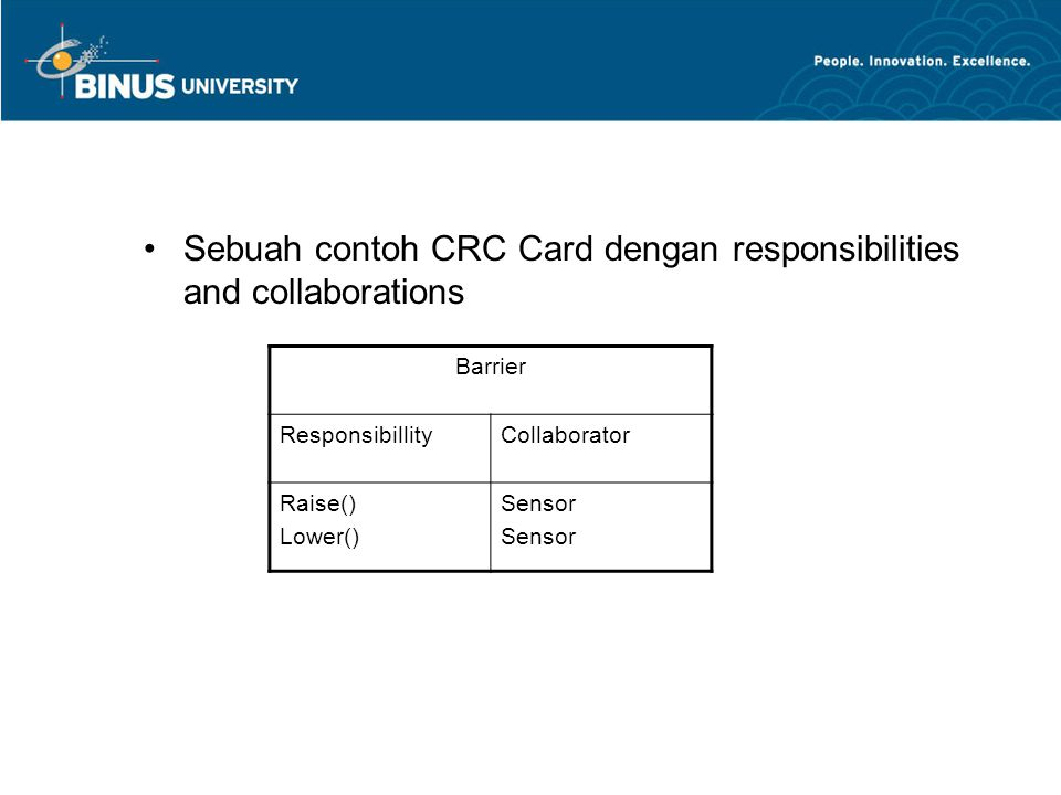 Sebuah contoh CRC Card dengan responsibilities and collaborations Barrier ResponsibillityCollaborator Raise() Lower() Sensor