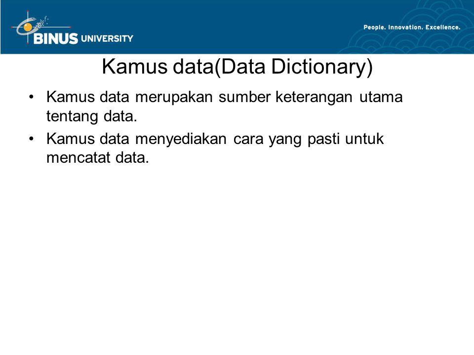 Kamus data(Data Dictionary) Kamus data merupakan sumber keterangan utama tentang data. Kamus data menyediakan cara yang pasti untuk mencatat data.