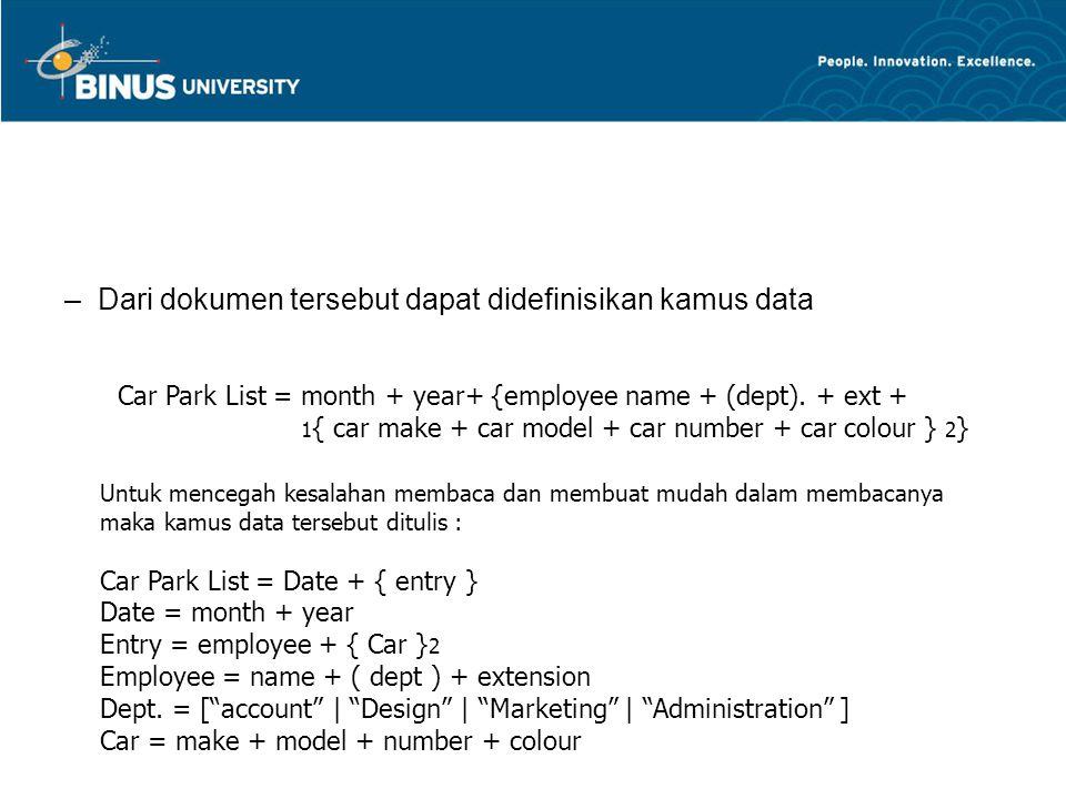 –Dari dokumen tersebut dapat didefinisikan kamus data Car Park List = month + year+ {employee name + (dept). + ext + 1 { car make + car model + car nu