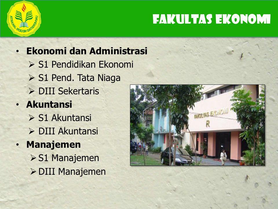 Ekonomi dan Administrasi  S1 Pendidikan Ekonomi  S1 Pend. Tata Niaga  DIII Sekertaris Akuntansi  S1 Akuntansi  DIII Akuntansi Manajemen  S1 Mana
