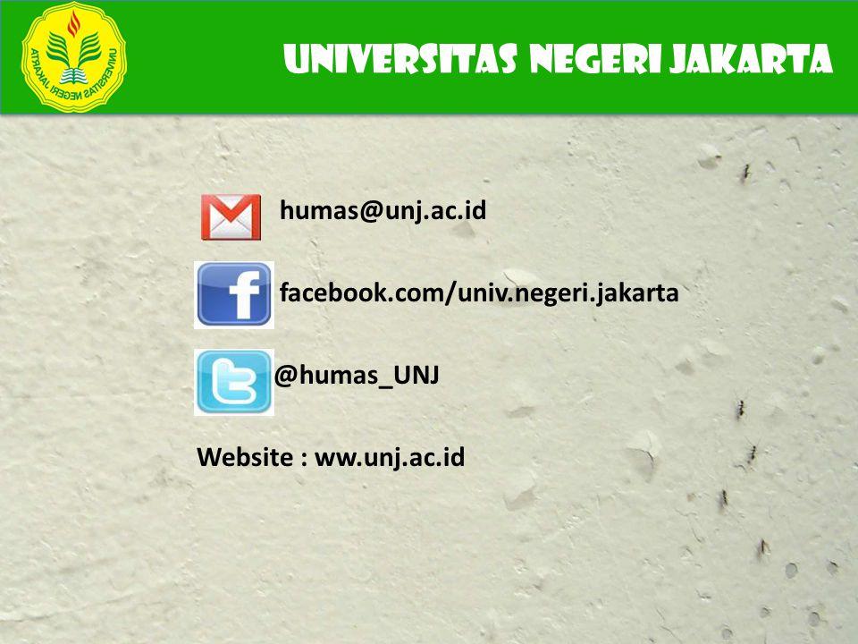 humas@unj.ac.id facebook.com/univ.negeri.jakarta @humas_UNJ Website : ww.unj.ac.id UNIVERSITAS NEGERI JAKARTA