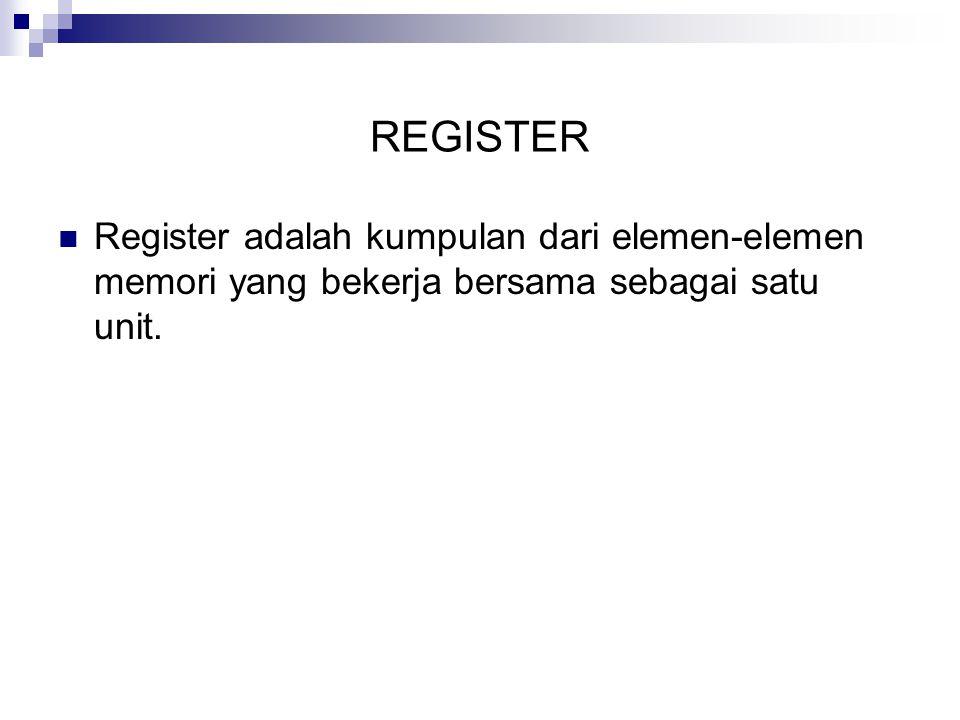 REGISTER Register adalah kumpulan dari elemen-elemen memori yang bekerja bersama sebagai satu unit.