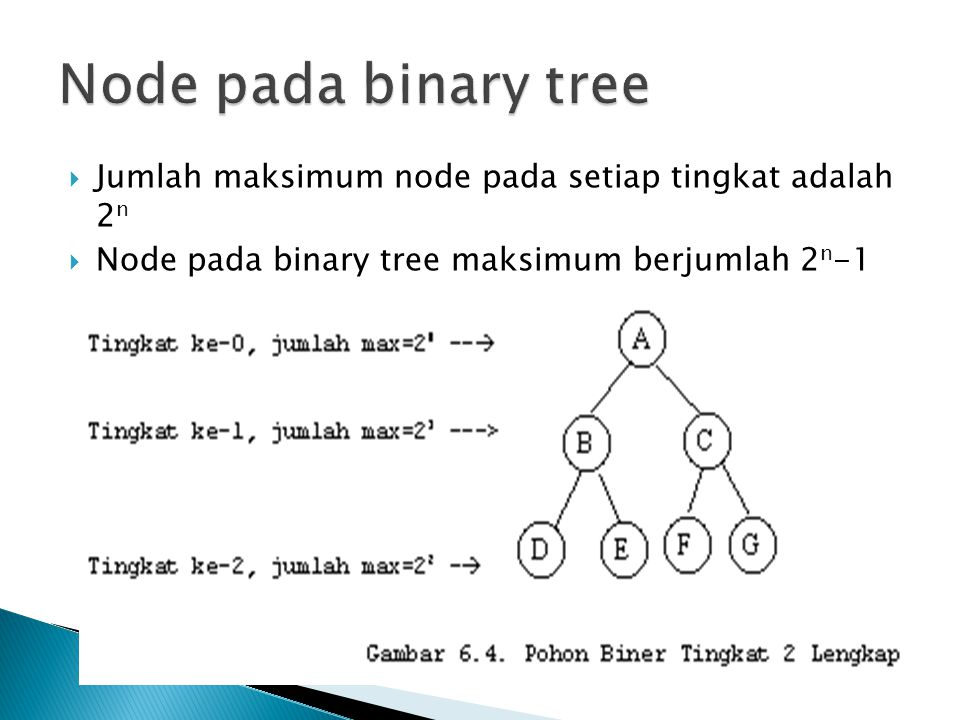  Jumlah maksimum node pada setiap tingkat adalah 2 n  Node pada binary tree maksimum berjumlah 2 n -1