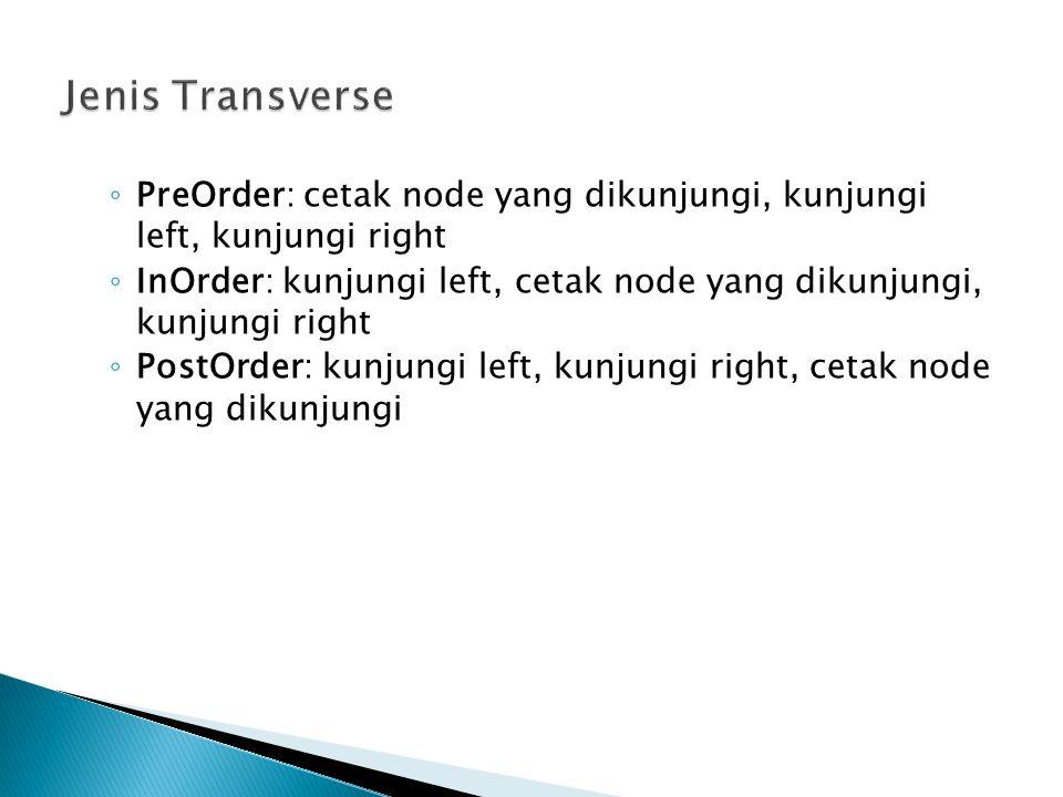 ◦ PreOrder: cetak node yang dikunjungi, kunjungi left, kunjungi right ◦ InOrder: kunjungi left, cetak node yang dikunjungi, kunjungi right ◦ PostOrder