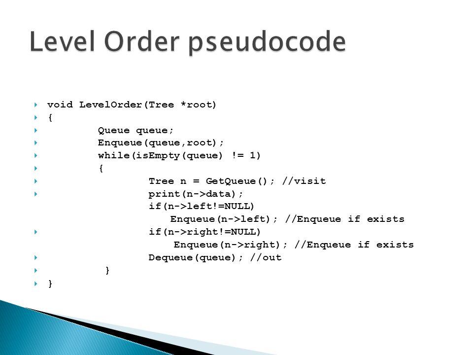  void LevelOrder(Tree *root)  {  Queue queue;  Enqueue(queue,root);  while(isEmpty(queue) != 1)  {  Tree n = GetQueue(); //visit  print(n->dat