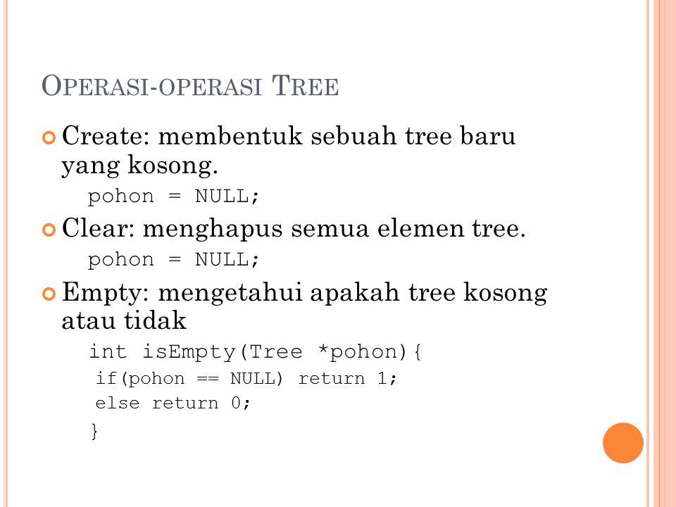 O PERASI - OPERASI T REE Create: membentuk sebuah tree baru yang kosong. pohon = NULL; Clear: menghapus semua elemen tree. pohon = NULL; Empty: menget