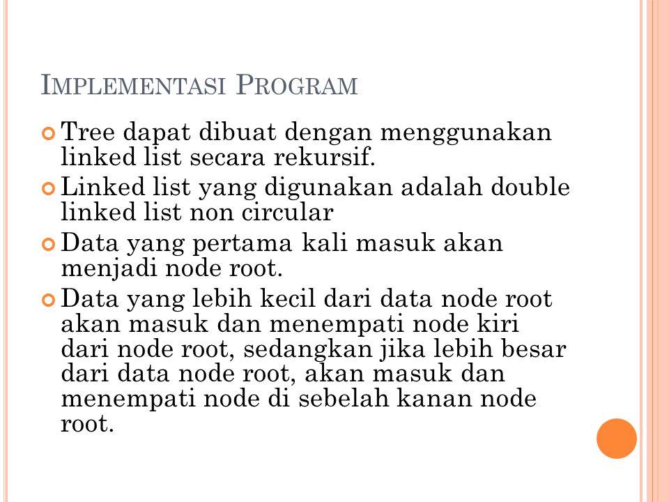 I MPLEMENTASI P ROGRAM Tree dapat dibuat dengan menggunakan linked list secara rekursif. Linked list yang digunakan adalah double linked list non circ