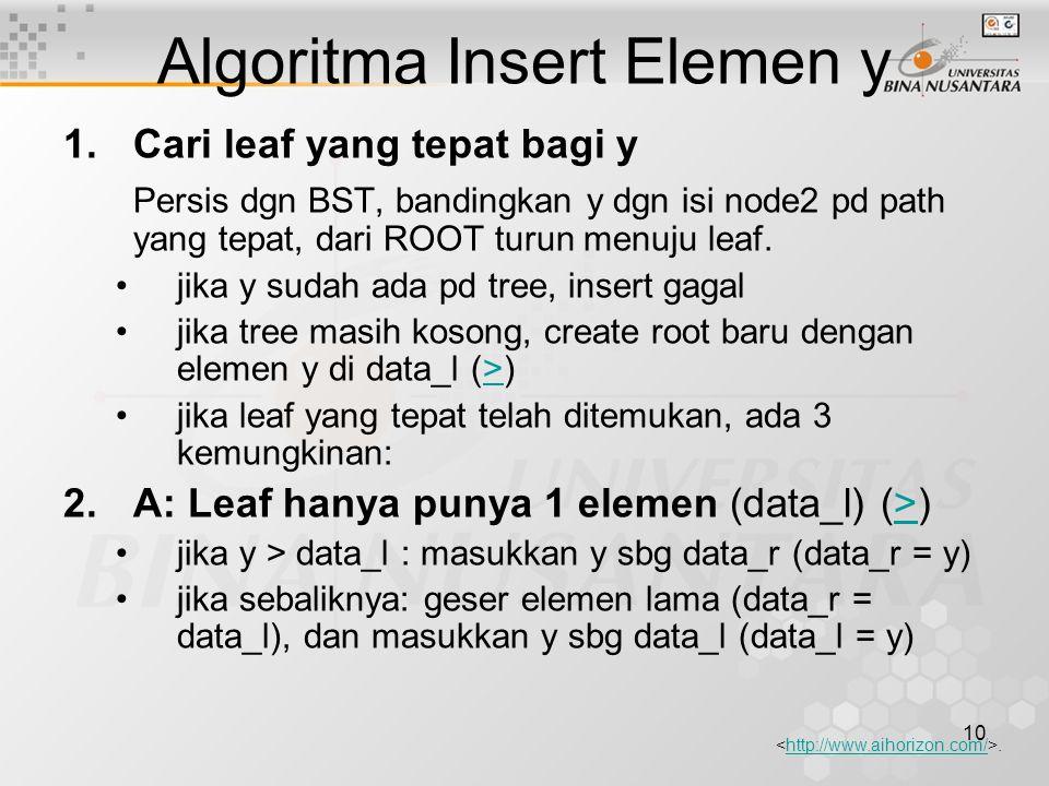 10 Algoritma Insert Elemen y 1.Cari leaf yang tepat bagi y Persis dgn BST, bandingkan y dgn isi node2 pd path yang tepat, dari ROOT turun menuju leaf.