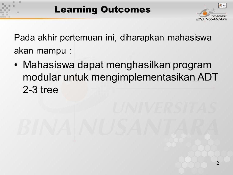 2 Learning Outcomes Pada akhir pertemuan ini, diharapkan mahasiswa akan mampu : Mahasiswa dapat menghasilkan program modular untuk mengimplementasikan ADT 2-3 tree