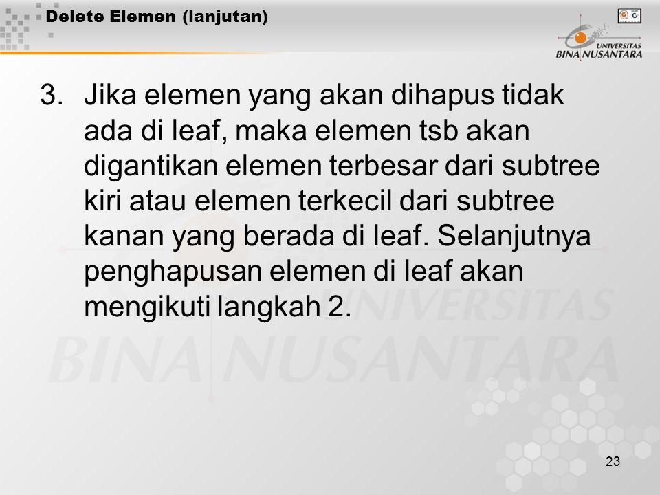 23 3.Jika elemen yang akan dihapus tidak ada di leaf, maka elemen tsb akan digantikan elemen terbesar dari subtree kiri atau elemen terkecil dari subtree kanan yang berada di leaf.