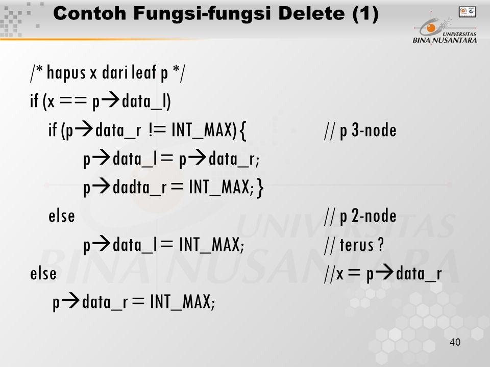 40 Contoh Fungsi-fungsi Delete (1) /* hapus x dari leaf p */ if (x == p  data_l) if (p  data_r != INT_MAX) {// p 3-node p  data_l = p  data_r; p  dadta_r = INT_MAX; } else// p 2-node p  data_l = INT_MAX;// terus .