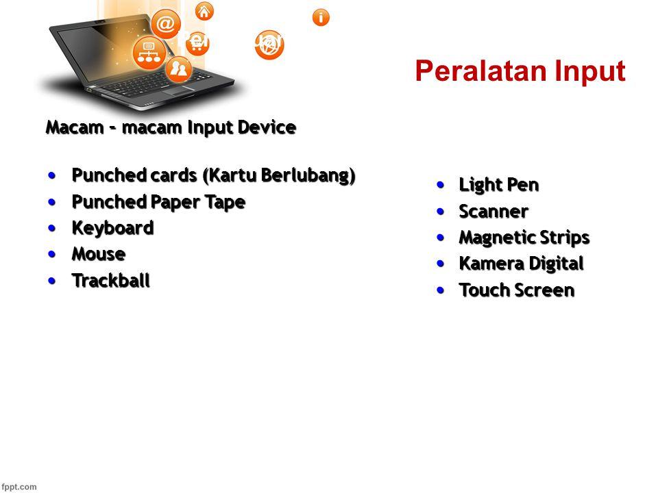 Pertemuan 2 Macam – macam Input Device Punched cards (Kartu Berlubang) Punched cards (Kartu Berlubang) Punched Paper Tape Punched Paper Tape Keyboard