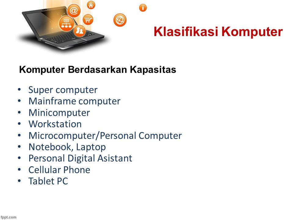 Super computer Mainframe computer Minicomputer Workstation Microcomputer/Personal Computer Notebook, Laptop Personal Digital Asistant Cellular Phone T
