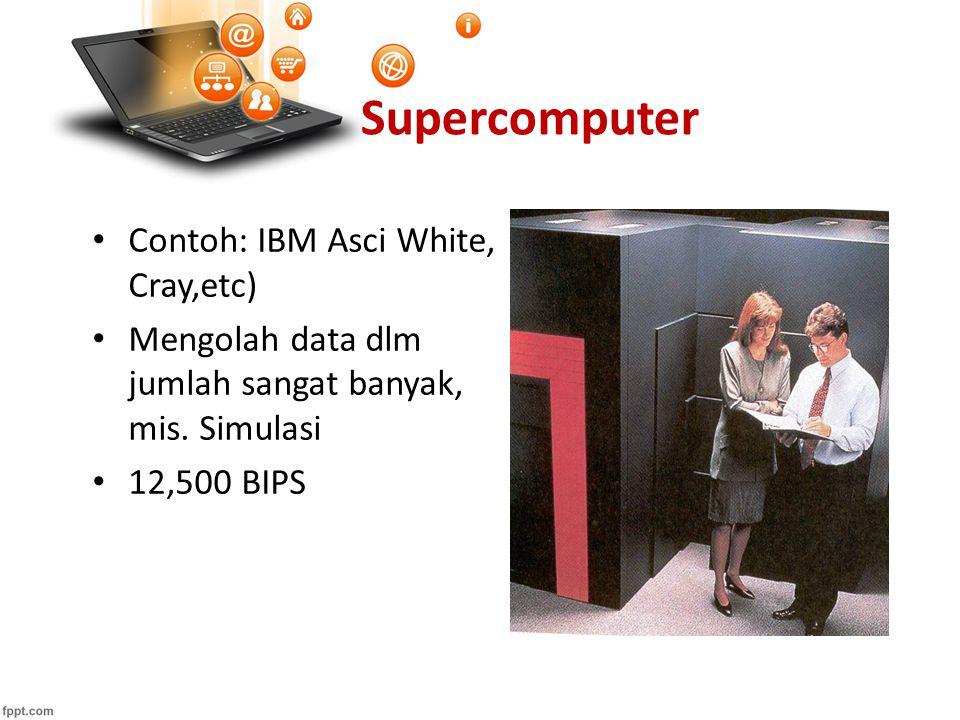 Supercomputer Contoh: IBM Asci White, Cray,etc) Mengolah data dlm jumlah sangat banyak, mis. Simulasi 12,500 BIPS