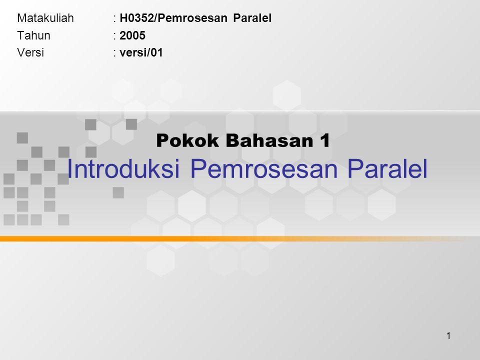 1 Pokok Bahasan 1 Introduksi Pemrosesan Paralel Matakuliah: H0352/Pemrosesan Paralel Tahun: 2005 Versi: versi/01