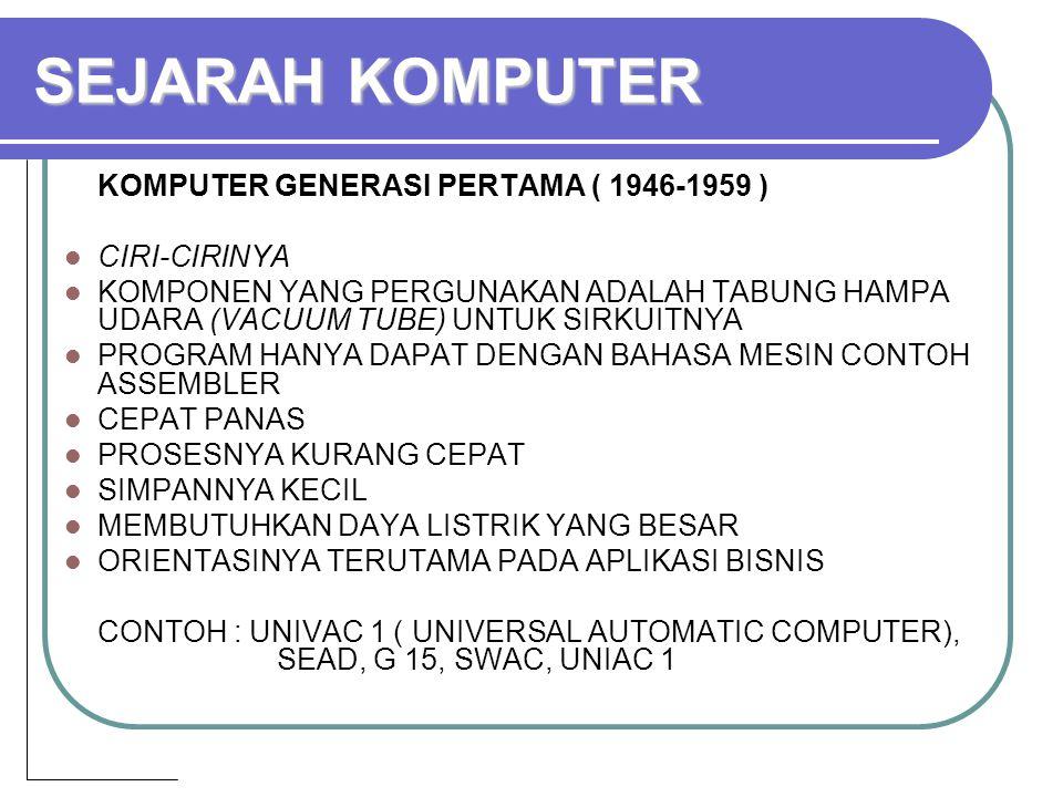 SEJARAH KOMPUTER KOMPUTER GENERASI PERTAMA ( 1946-1959 ) CIRI-CIRINYA KOMPONEN YANG PERGUNAKAN ADALAH TABUNG HAMPA UDARA (VACUUM TUBE) UNTUK SIRKUITNYA PROGRAM HANYA DAPAT DENGAN BAHASA MESIN CONTOH ASSEMBLER CEPAT PANAS PROSESNYA KURANG CEPAT SIMPANNYA KECIL MEMBUTUHKAN DAYA LISTRIK YANG BESAR ORIENTASINYA TERUTAMA PADA APLIKASI BISNIS CONTOH : UNIVAC 1 ( UNIVERSAL AUTOMATIC COMPUTER), SEAD, G 15, SWAC, UNIAC 1