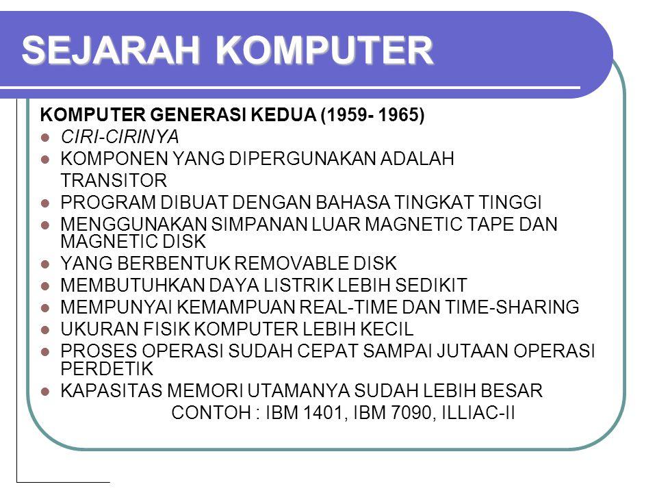 SEJARAH KOMPUTER KOMPUTER GENERASI KEDUA (1959- 1965) CIRI-CIRINYA KOMPONEN YANG DIPERGUNAKAN ADALAH TRANSITOR PROGRAM DIBUAT DENGAN BAHASA TINGKAT TINGGI MENGGUNAKAN SIMPANAN LUAR MAGNETIC TAPE DAN MAGNETIC DISK YANG BERBENTUK REMOVABLE DISK MEMBUTUHKAN DAYA LISTRIK LEBIH SEDIKIT MEMPUNYAI KEMAMPUAN REAL-TIME DAN TIME-SHARING UKURAN FISIK KOMPUTER LEBIH KECIL PROSES OPERASI SUDAH CEPAT SAMPAI JUTAAN OPERASI PERDETIK KAPASITAS MEMORI UTAMANYA SUDAH LEBIH BESAR CONTOH : IBM 1401, IBM 7090, ILLIAC-II