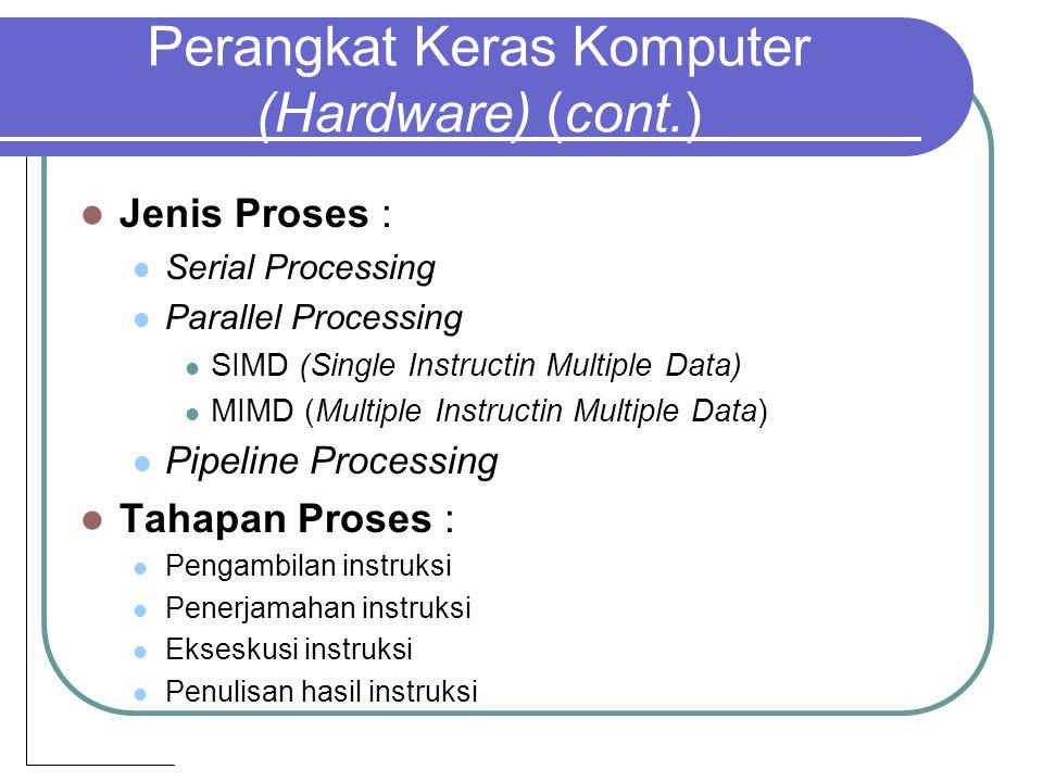 Perangkat Keras Komputer (Hardware) (cont.) Jenis Proses : Serial Processing Parallel Processing SIMD (Single Instructin Multiple Data) MIMD (Multiple Instructin Multiple Data) Pipeline Processing Tahapan Proses : Pengambilan instruksi Penerjamahan instruksi Ekseskusi instruksi Penulisan hasil instruksi