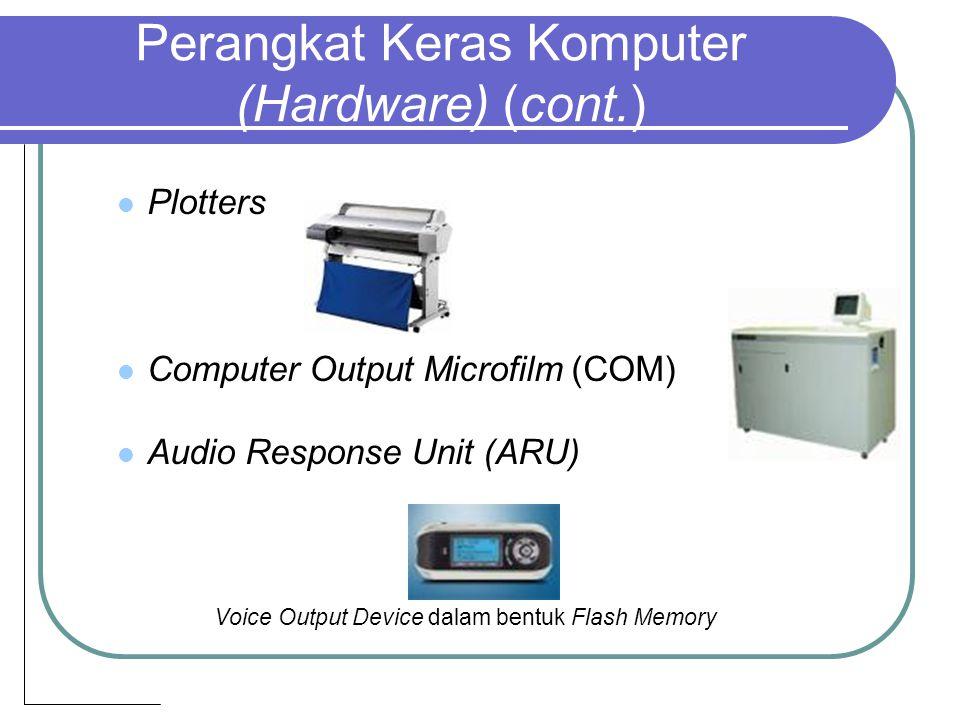 Perangkat Keras Komputer (Hardware) (cont.) Plotters Computer Output Microfilm (COM) Audio Response Unit (ARU) Voice Output Device dalam bentuk Flash Memory
