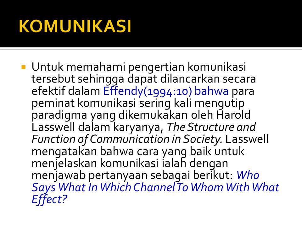  Untuk memahami pengertian komunikasi tersebut sehingga dapat dilancarkan secara efektif dalam Effendy(1994:10) bahwa para peminat komunikasi sering kali mengutip paradigma yang dikemukakan oleh Harold Lasswell dalam karyanya, The Structure and Function of Communication in Society.
