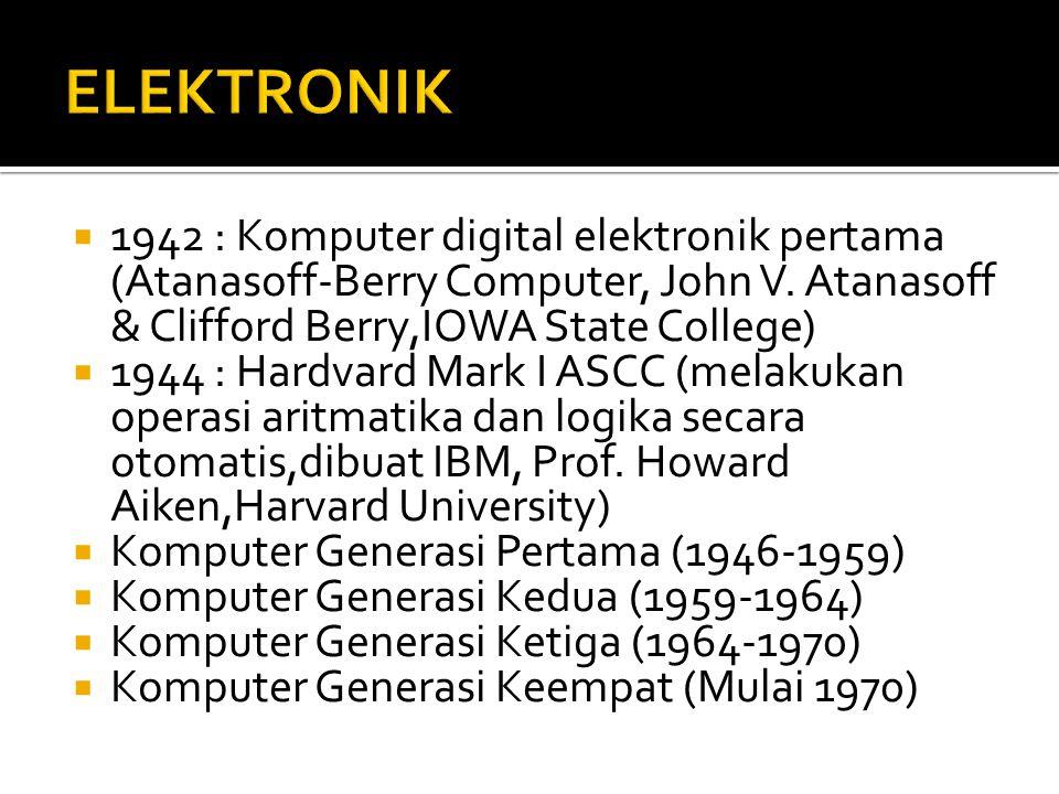  1942 : Komputer digital elektronik pertama (Atanasoff-Berry Computer, John V.