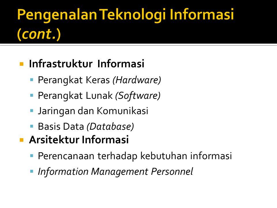  Infrastruktur Informasi  Perangkat Keras (Hardware)  Perangkat Lunak (Software)  Jaringan dan Komunikasi  Basis Data (Database)  Arsitektur Informasi  Perencanaan terhadap kebutuhan informasi  Information Management Personnel