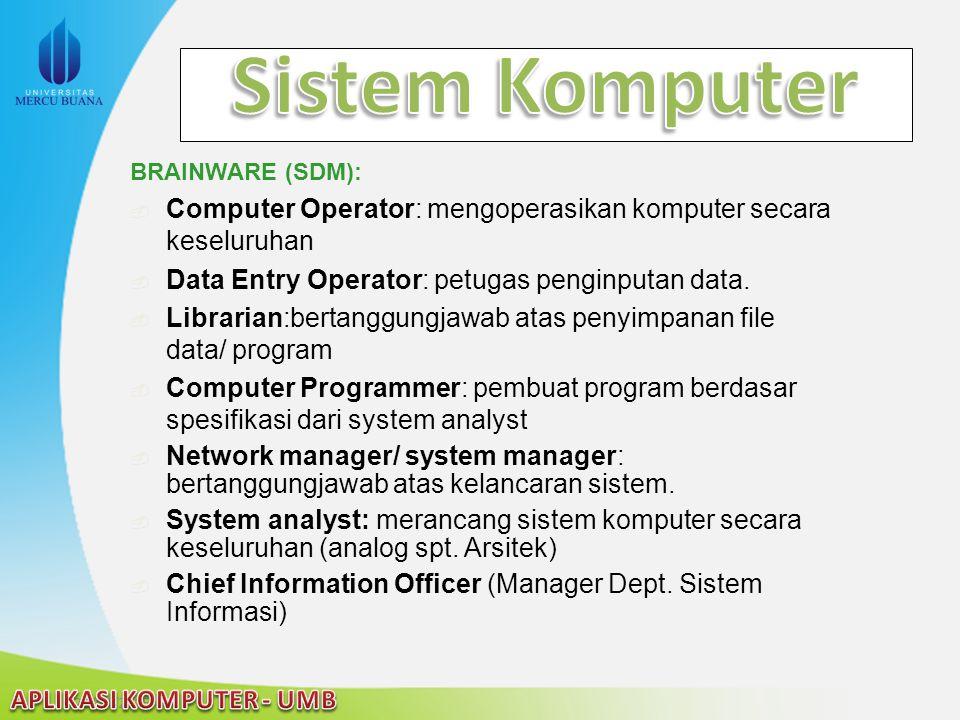 22/04/2015 BRAINWARE (SDM):  Computer Operator: mengoperasikan komputer secara keseluruhan  Data Entry Operator: petugas penginputan data.  Librari