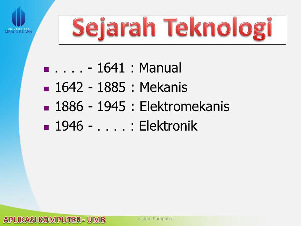 22/04/2015.... - 1641 : Manual 1642 - 1885 : Mekanis 1886 - 1945 : Elektromekanis 1946 -.... : Elektronik Sistem Komputer