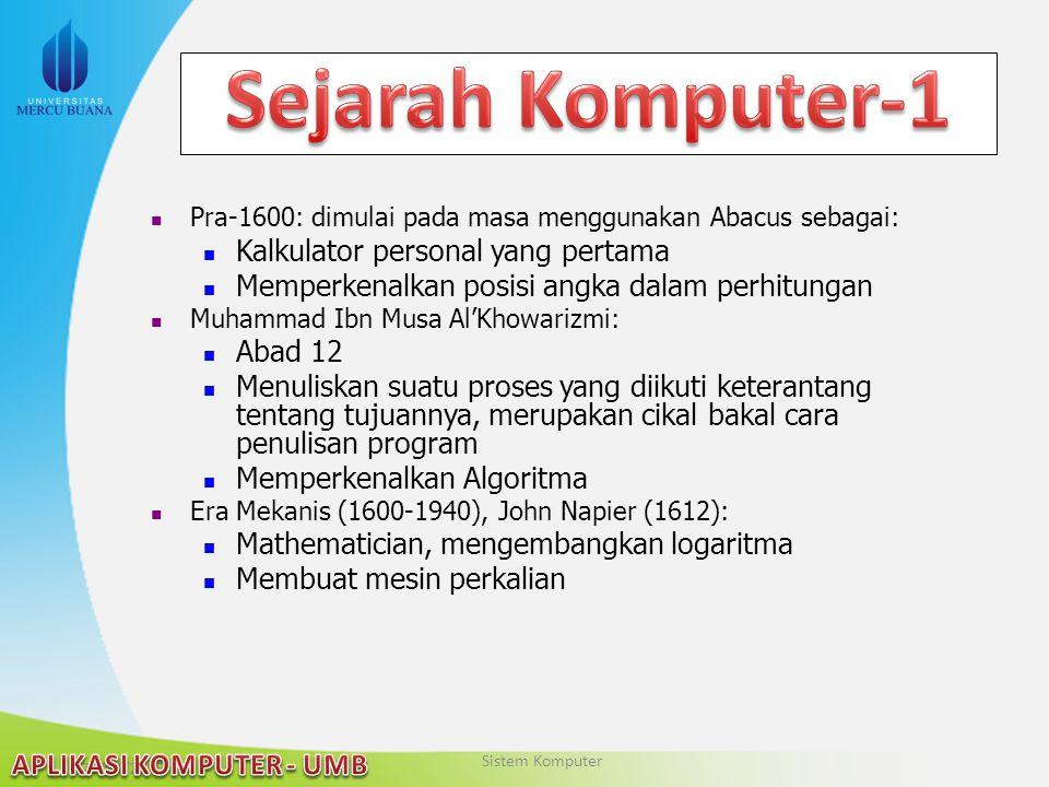22/04/2015 Pra-1600: dimulai pada masa menggunakan Abacus sebagai: Kalkulator personal yang pertama Memperkenalkan posisi angka dalam perhitungan Muha