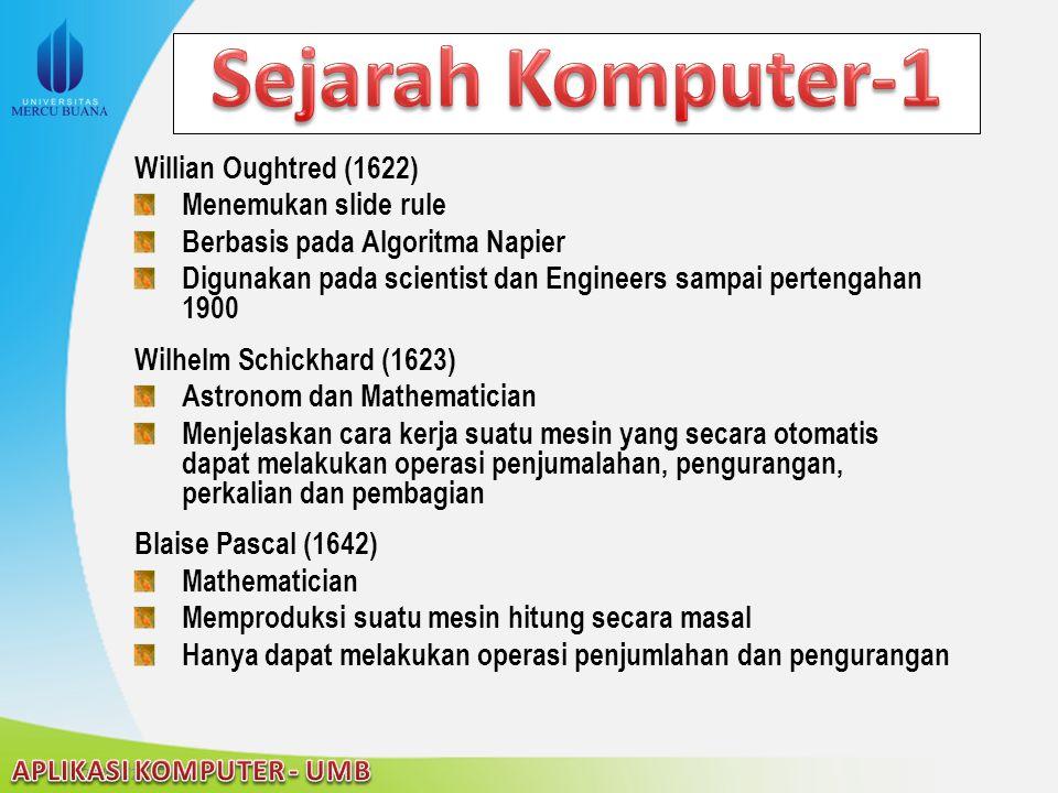 22/04/2015 Willian Oughtred (1622) Menemukan slide rule Berbasis pada Algoritma Napier Digunakan pada scientist dan Engineers sampai pertengahan 1900