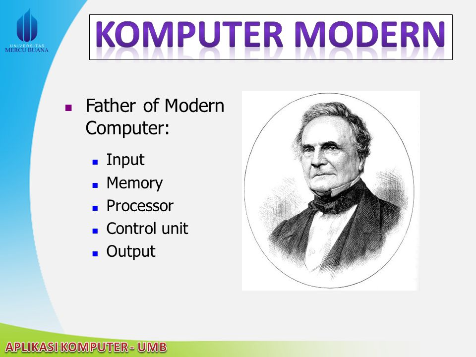 22/04/2015 Father of Modern Computer: Input Memory Processor Control unit Output