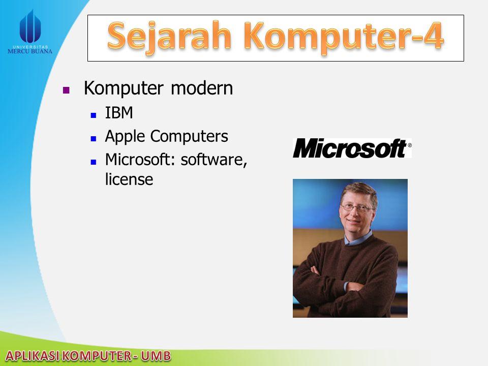 22/04/2015 Komputer modern IBM Apple Computers Microsoft: software, license