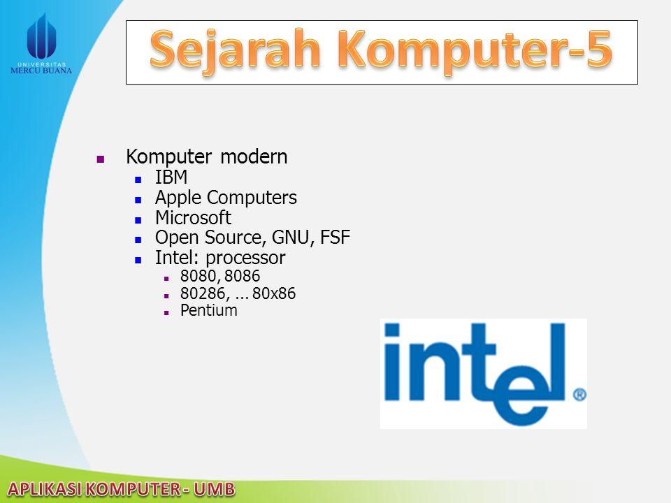 22/04/2015 Komputer modern IBM Apple Computers Microsoft Open Source, GNU, FSF Intel: processor 8080, 8086 80286,... 80x86 Pentium