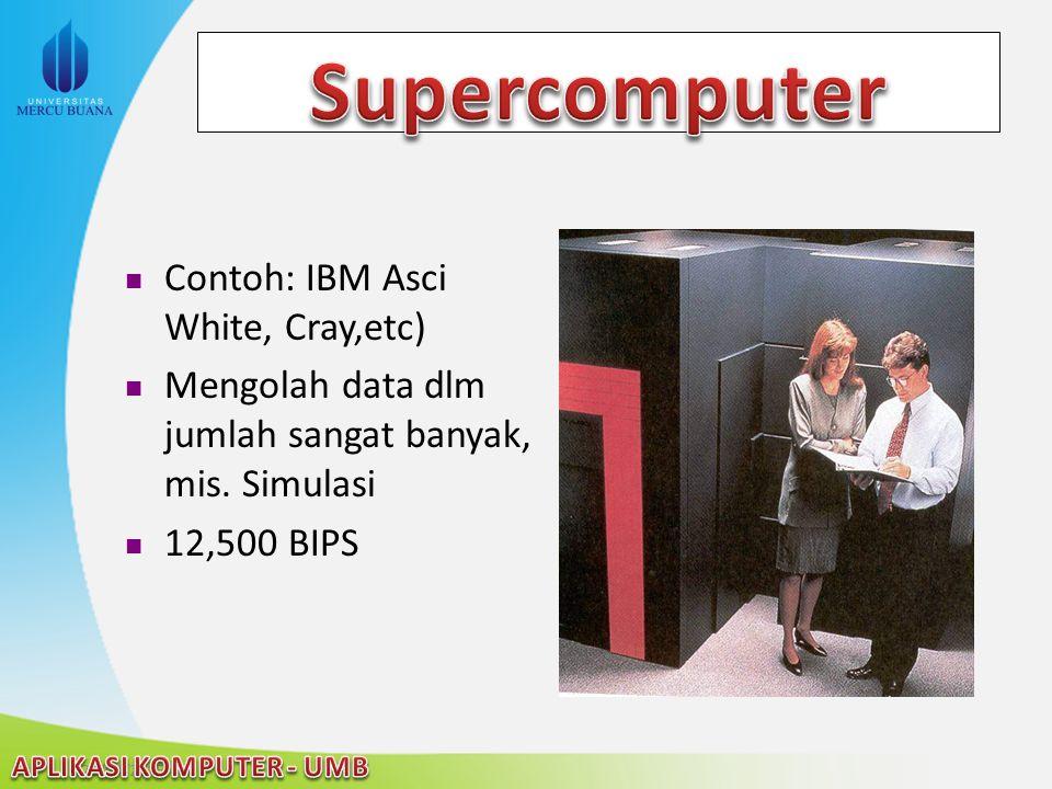 22/04/2015 Contoh: IBM Asci White, Cray,etc) Mengolah data dlm jumlah sangat banyak, mis. Simulasi 12,500 BIPS