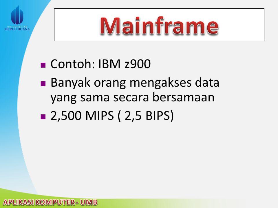 22/04/2015 Contoh: IBM z900 Banyak orang mengakses data yang sama secara bersamaan 2,500 MIPS ( 2,5 BIPS)