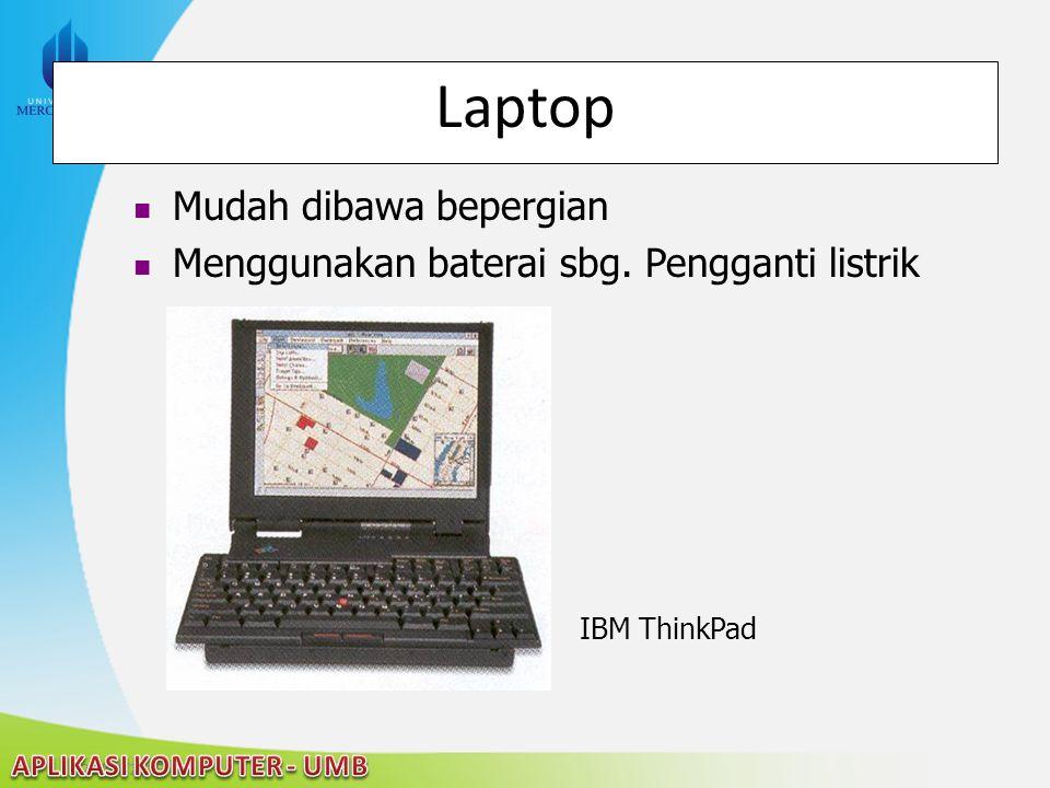 22/04/2015 Laptop Mudah dibawa bepergian Menggunakan baterai sbg. Pengganti listrik IBM ThinkPad