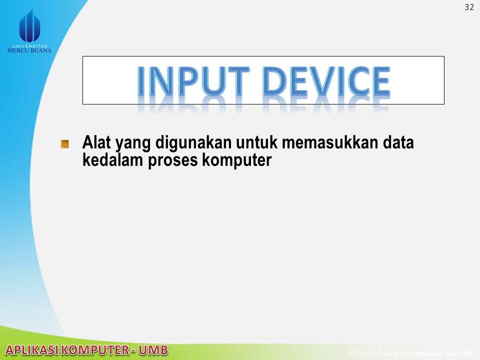 32 © The McGraw-Hill Companies, Inc., 2006 McGraw-Hill/Irwin 22/04/2015 Alat yang digunakan untuk memasukkan data kedalam proses komputer