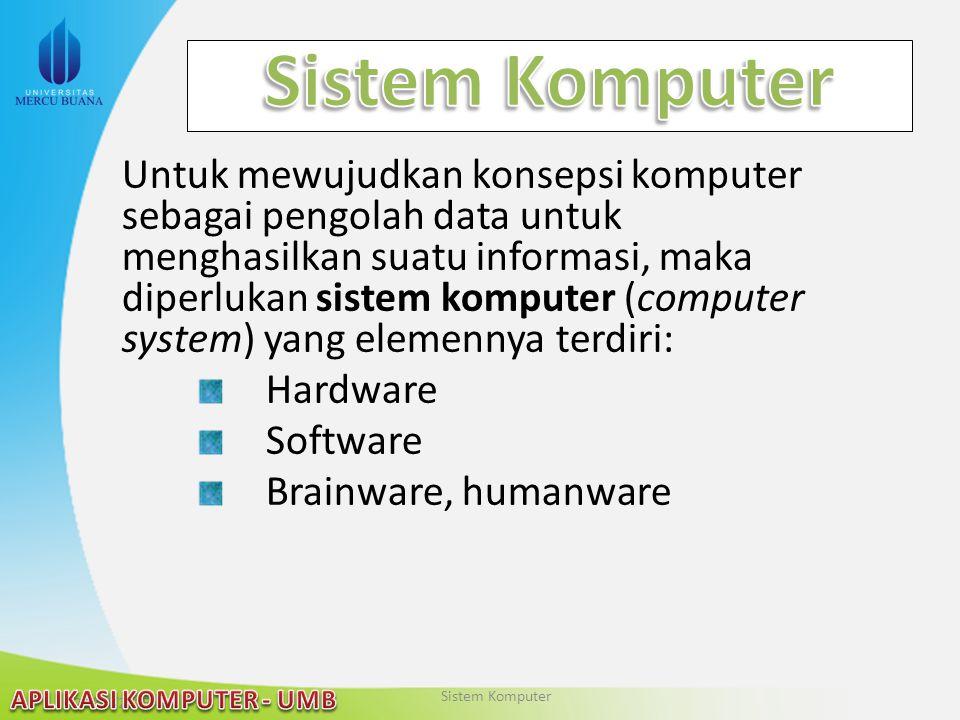 22/04/2015 Untuk mewujudkan konsepsi komputer sebagai pengolah data untuk menghasilkan suatu informasi, maka diperlukan sistem komputer (computer syst
