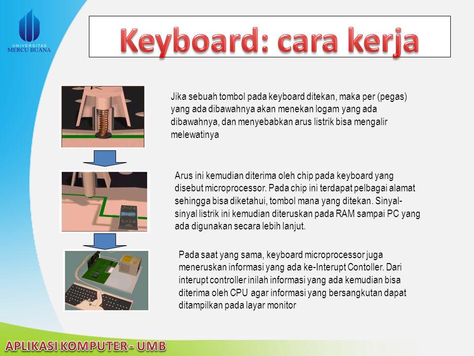 Jika sebuah tombol pada keyboard ditekan, maka per (pegas) yang ada dibawahnya akan menekan logam yang ada dibawahnya, dan menyebabkan arus listrik bi