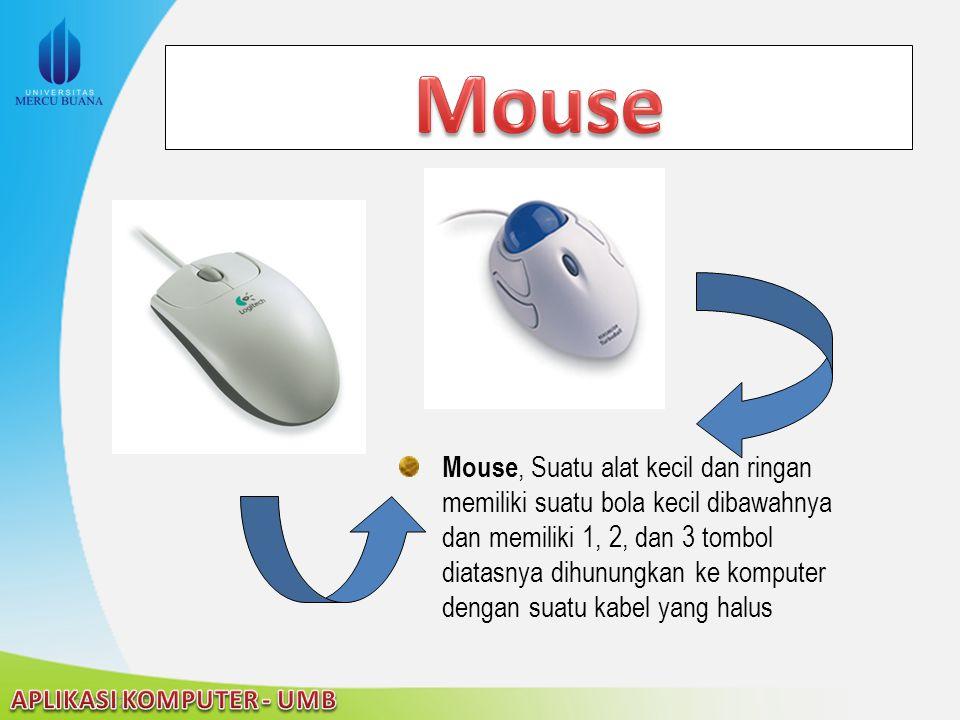 22/04/2015 Mouse, Suatu alat kecil dan ringan memiliki suatu bola kecil dibawahnya dan memiliki 1, 2, dan 3 tombol diatasnya dihunungkan ke komputer d