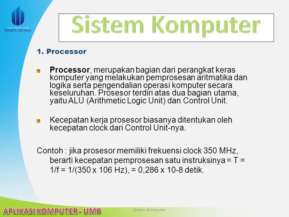 22/04/2015 1. Processor Processor, merupakan bagian dari perangkat keras komputer yang melakukan pemprosesan aritmatika dan logika serta pengendalian