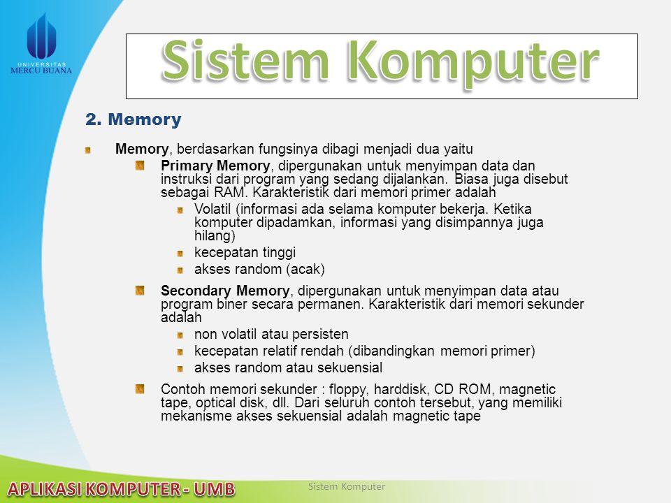 22/04/2015 2. Memory Memory, berdasarkan fungsinya dibagi menjadi dua yaitu Primary Memory, dipergunakan untuk menyimpan data dan instruksi dari progr