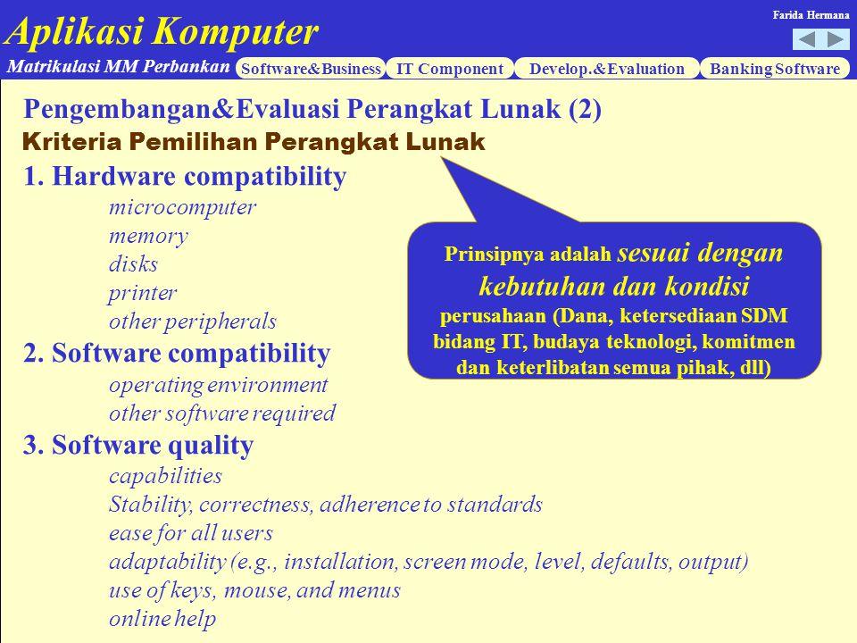 Aplikasi Komputer Software&BusinessIT ComponentDevelop.&EvaluationBanking Software Matrikulasi MM Perbankan Farida Hermana 1. Hardware compatibility m