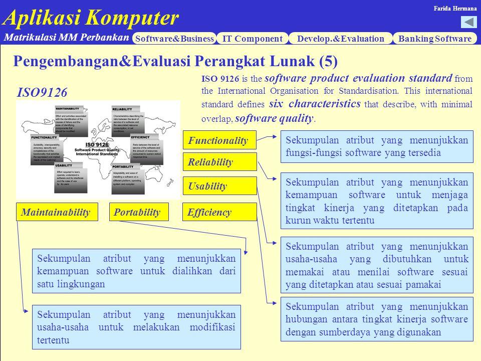 Aplikasi Komputer Software&BusinessIT ComponentDevelop.&EvaluationBanking Software Matrikulasi MM Perbankan Farida Hermana ISO9126 ISO 9126 is the sof