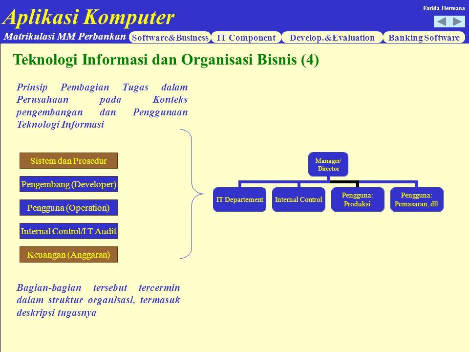 Aplikasi Komputer Software&BusinessIT ComponentDevelop.&EvaluationBanking Software Matrikulasi MM Perbankan Farida Hermana Teknologi Informasi dan Org