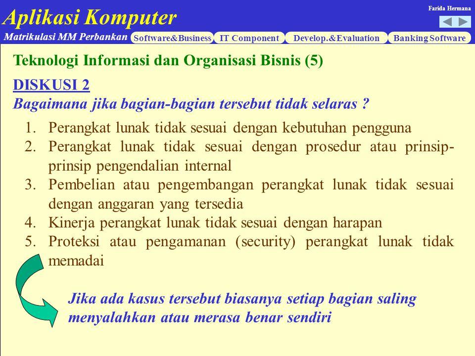 Aplikasi Komputer Software&BusinessIT ComponentDevelop.&EvaluationBanking Software Matrikulasi MM Perbankan Farida Hermana DISKUSI 2 Bagaimana jika ba