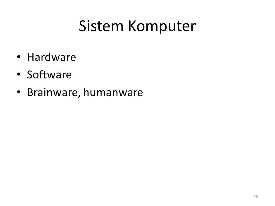 Sistem Komputer Hardware Software Brainware, humanware 18