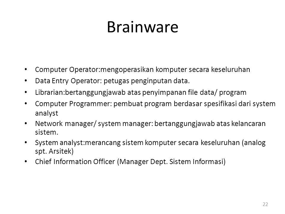 Brainware Computer Operator:mengoperasikan komputer secara keseluruhan Data Entry Operator: petugas penginputan data. Librarian:bertanggungjawab atas