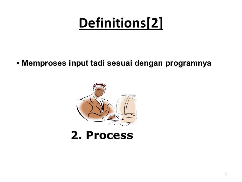 Definitions[2] 6 Memproses input tadi sesuai dengan programnya 2. Process